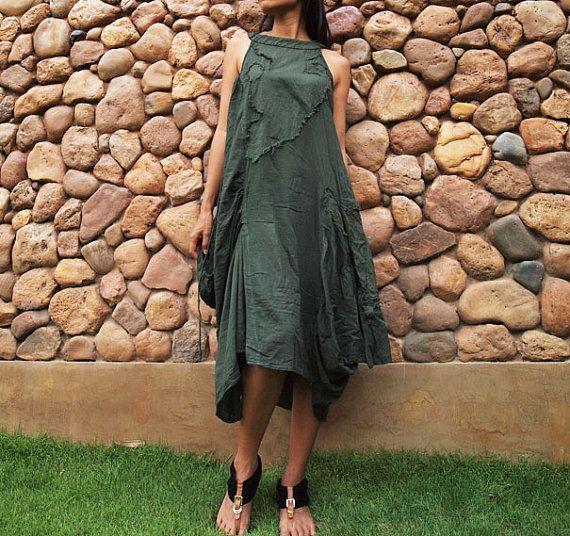 Swirl Sleeveless funky dress...Dark green (S-L)
