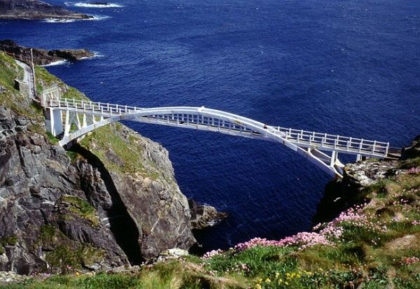 I walked across Mizen Head Bridge in County Cork, Ireland.  Maybe ran across - don't like heights!