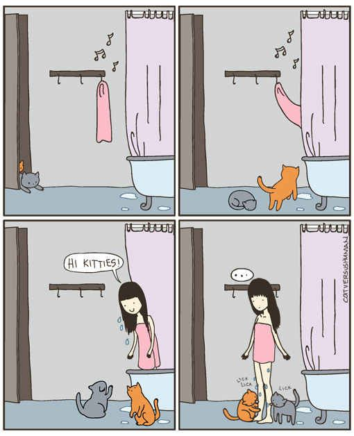 And they keep their humans clean. | 6 Signs Your Cats Actually Run Your Home