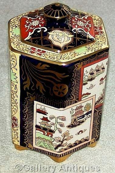 Mason's Ironstone Double Landscape Pattern Imari Style Hexagonal Lidded Tea Caddy storage jar c.1930's (ref: 3198)