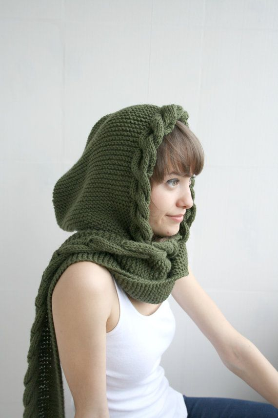 Free Shipping GREEN Wool Hooded Cabled Long Scarf by denizgunes, $79.00