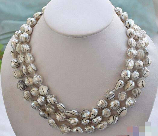 Горячая # оптовая продажа бесплатная доставка >>> P4360 3row 19  15 мм серые полосы барокко пресной воды жемчужное ожерелье