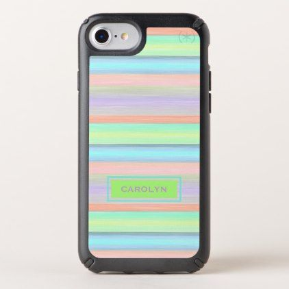 Custom Coral Pink Lime Green Turquoise Stripes Speck iPhone Case - #chic gifts diy elegant gift ideas personalize