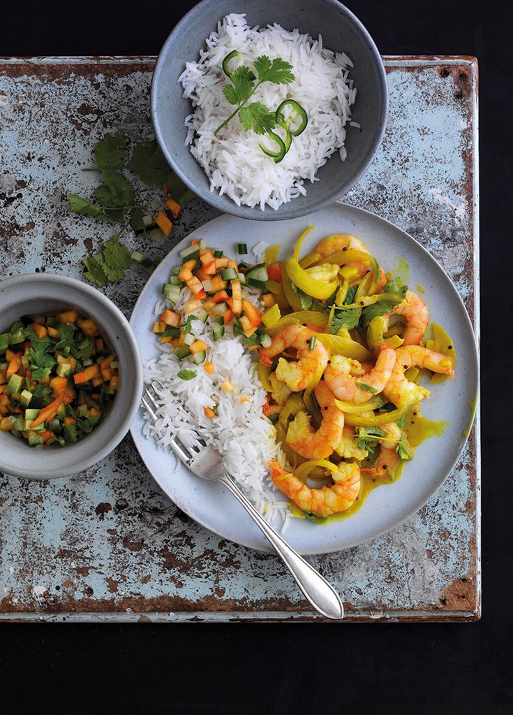 King Prawn Curry With Spanish Persimon Kachumber... | Claire Justine