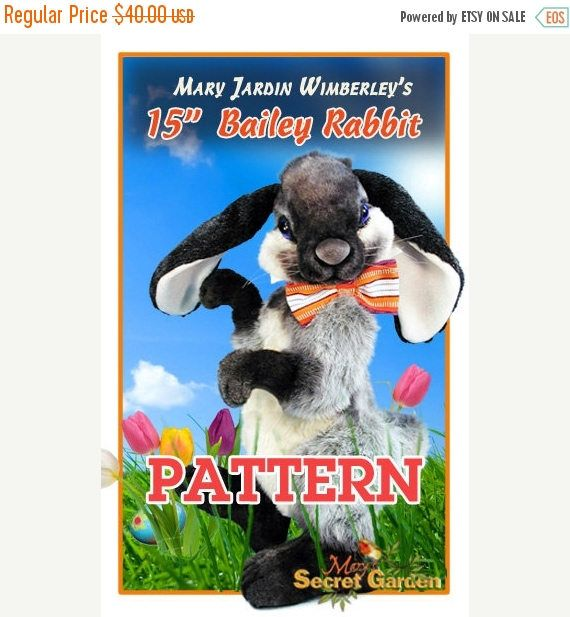 ON SALE Bunny Sewing Pattern Stuffed Animal Pattern PDF