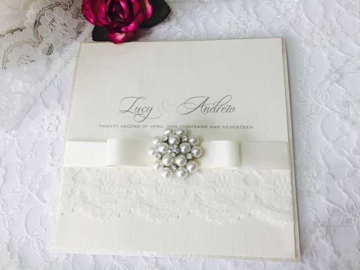 Lace Vintage Pocket Style Wedding Invitation Styled With Ivory Lace, Ivory  Ribbon And Vintage Pearl