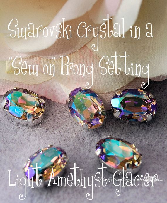 Sew On  Swarovski Crystal Light Amethyst by MyWiredImagination, $7.00: Swarovski Crystals Sewing On, Glacier Sewing, Crystals Lighting, Crafts Idea, Jewelry, 14X10Mm Oval, Hole Prong, Amethysts Glacier, Crystals 14X10Mm