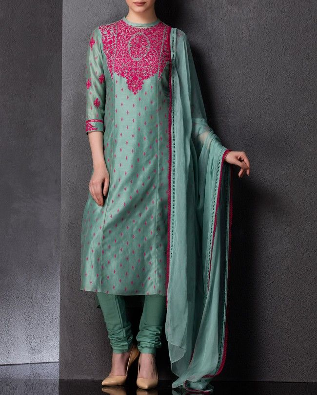 Sea Green Kurta Set with Embroidery - AM:PM | SHOP NOW ON : http://bit.ly/AMPM_buy