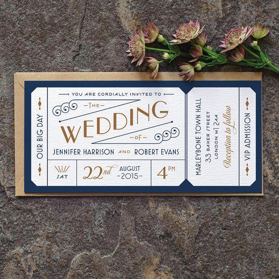 Formele toelating Ticket bruiloft uitnodiging / door twoforjoypaper