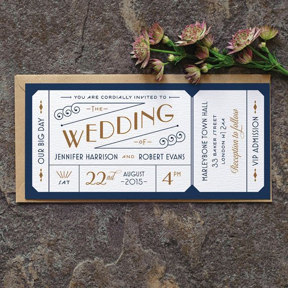 Formal Admission Ticket Wedding Invitation / by twoforjoypaper