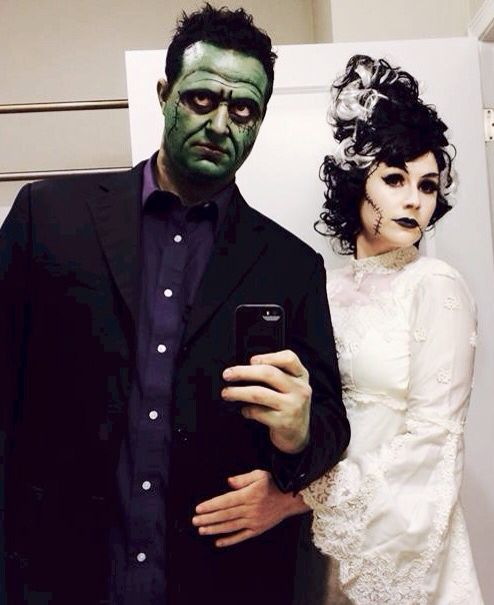Couples Halloween costume idea, makeup for Frankenstein and Bride of Frankenstein.   1. Old wedding dress circa 1979  2. $20 monster Bride wig, party city  3. white and green grease makeup, party city  4. Black eyeliner pot and angled eyeliner brush   5. Black mens touch up hair color in aerosol can.   6. false eyelashes.   Teased and sprayed Mikes hair to shape, sprayed hair line to go straight across. Used black hair color spray to paint nerf gun darts for bolts. Attached to neck w/ lash…
