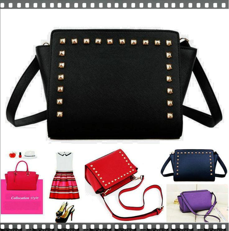 Michael Kors-Women Rivet Messenger Bags Totes bag famous brand small MIKAEL'KS Selma Saffiano100% women cowhide leather shoulder bags
