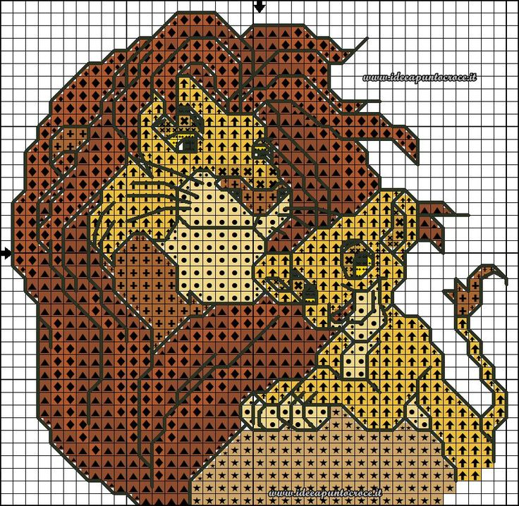 Схема для вышивки крестом - лев в формате xsd.