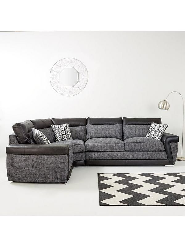 Geo Fabric and Faux Leather Left-Hand Corner Group Sofa in ...