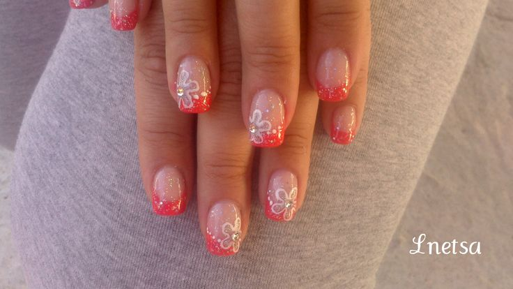 """""""Coral french with flowers"""" tutorial: http://youtu.be/NfC7VgvQySI"""