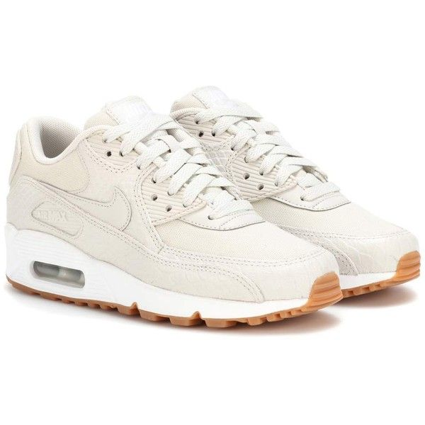 Nike Nike Air Max 90 Leather Sneakers ($160) ❤ liked on Polyvore featuring shoes, sneakers, beige, nike footwear, beige shoes, leather trainers, leather shoes and genuine leather shoes