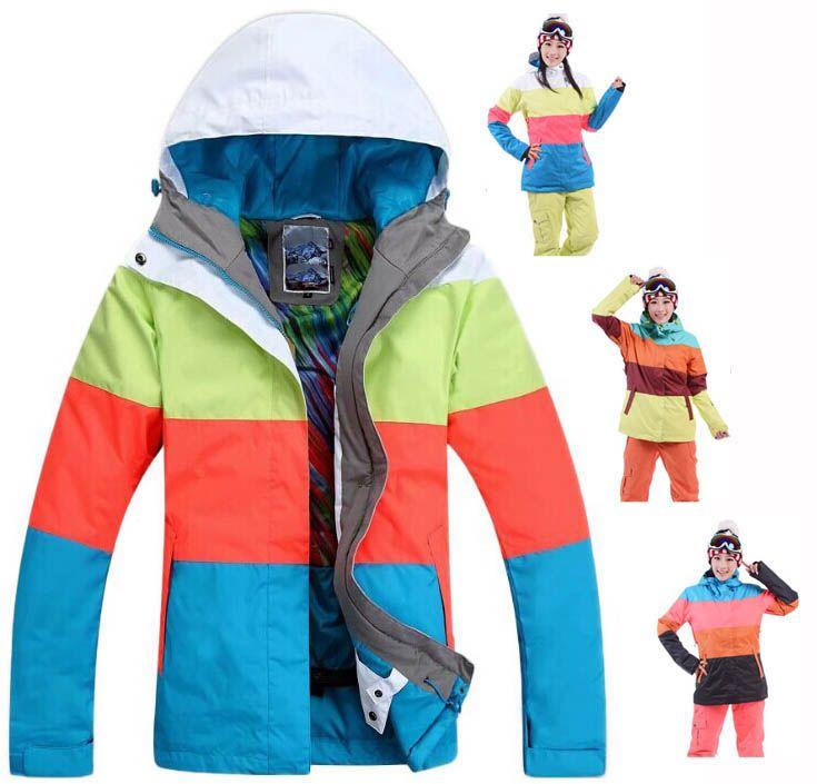 2016 мода хит цвет лыжный костюм женщины спорта на открытом воздухе лыжи одежда зимние куртки четыре подбора цвета сноуборд одежда зимняя