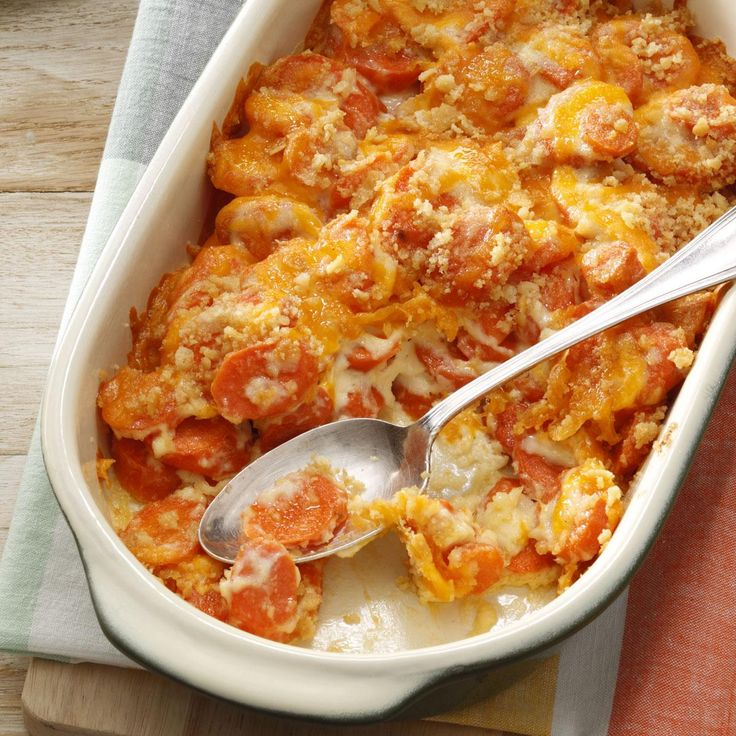 Creamy Carrot Casserole Recipe -My mom and I developed this recipe to see if there was a carrot dish that even people who don't care for carrots would enjoy. So far, I haven't met anyone who hasn't liked this casserole. —Laurie Heward, Fillmore, Utah