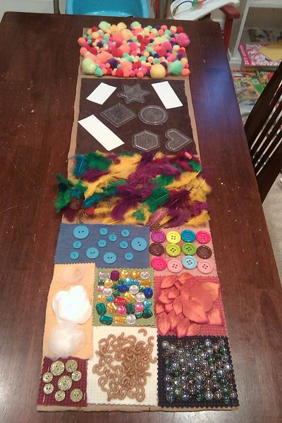 Sensory Wall: Use your imagination and whatever you have around the house to make your own for your child to enjoy! Buttons, fabrics, sponges, bubble wrap, anything at all can take your child on a sensory journey! - repinned from Helga Mays at http://www.pinterest.com/4hofauer/toddler-activities/ ≈≈