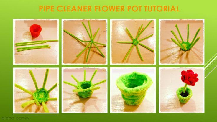 Pipe cleaner flower pot tutorial