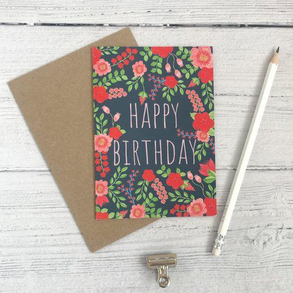 Flower Birthday Card Fun Birthday Card Etsy Flower Birthday Cards Birthday Cards Happy Birthday Cards