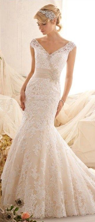 Gorgeous Mermaid V-Neck Lace Wedding Dress with Beaded Waist (=)