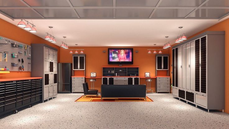 Interior Unique Garage Design Ideas Sleek And Neat Man Cave Completed Seating