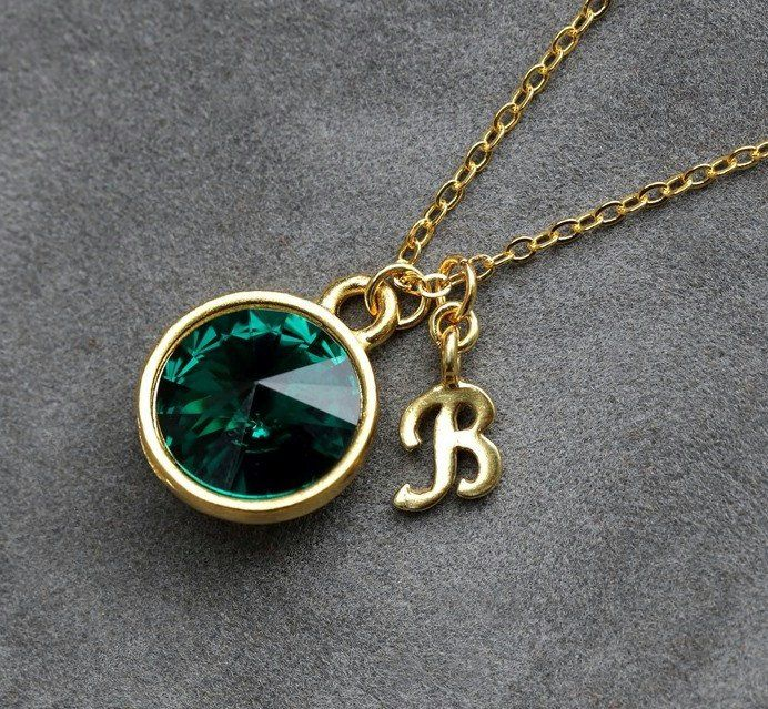 14k Gold Emerald May Birthstone Cursive Letter E Dog-tag Necklace