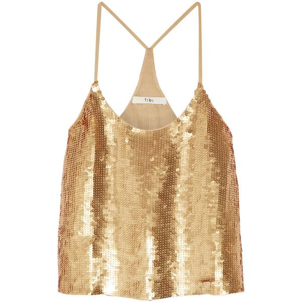 Tibi Éclair sequined silk-georgette camisole (£455) ❤ liked on Polyvore featuring intimates, camis, gold, sequin cami, sequin camisole, tibi, tibi camisole and tibi cami