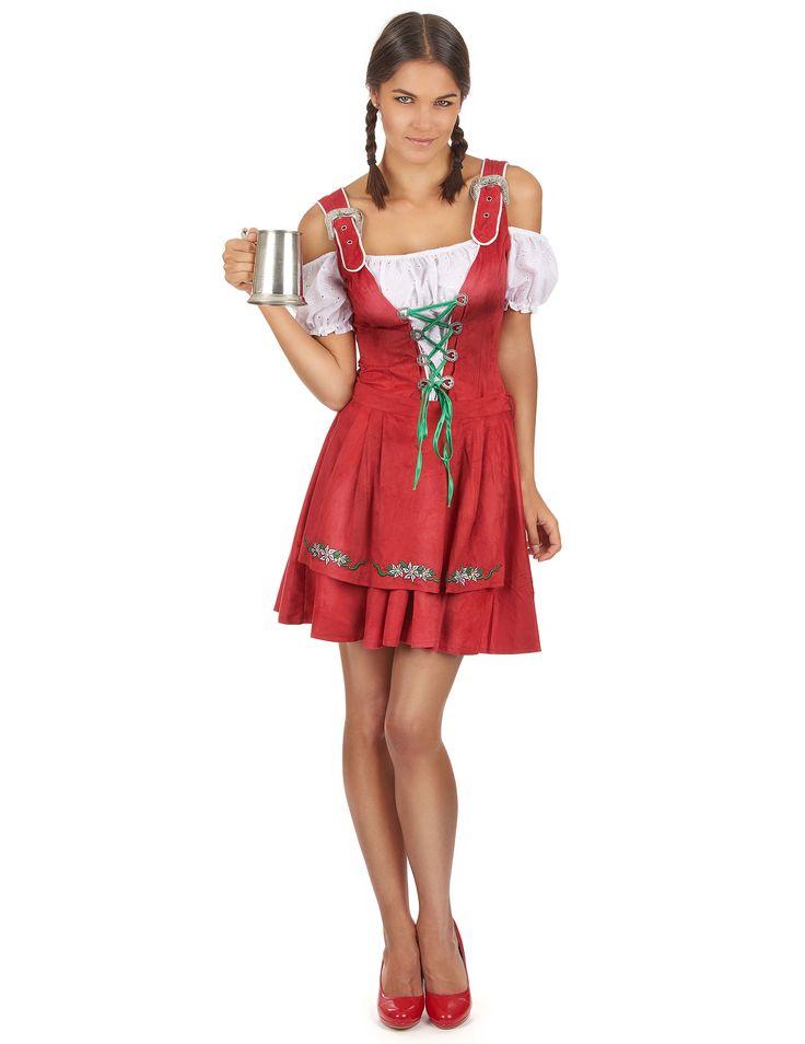 Sexy Tiroler Tracht in Rot für Frauen: Dieses sexy Kostüm für Frauen stellt ein typisches Tiroler Trachtendirndl dar. Es enthält ein Kleid und eine Schürze (Maßkrug, Hut und Halskette sind im Lieferumfang nicht...