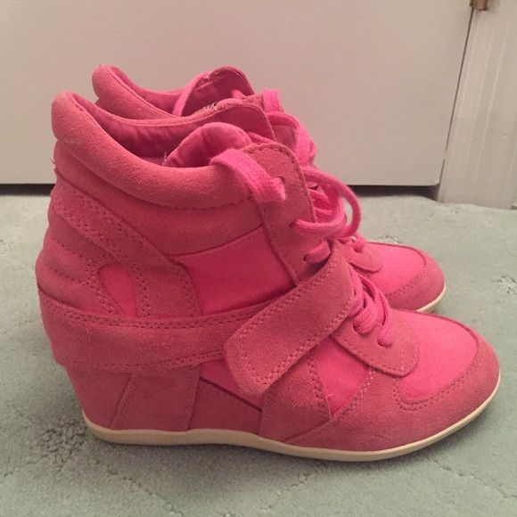 Gorgeous pink ASH sneaker wedges Worn a handful of times Ash Shoes Sneakers