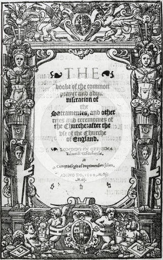 Title page of Thomas Cranmer's Book of Common Prayer,1549.Cranmer (1489-1556)was the Archbishop of Canterbury during the reigns of the English kings Henry VIII and Edward VI. He declared the marriage of Henry VIII and Catherine of Aragon void in 1533, paving the way for the king to marry Anne Boleyn.Cranmer was instrumental in pushing through Henry's reforms to the Church and wrote the first two editions of the Book of Common Prayer,the first was published in 1549 during the reign of Edward…