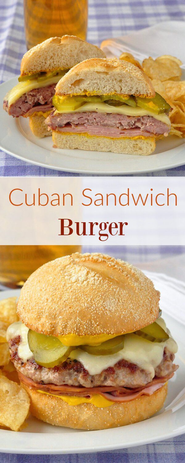 Cuban Sandwich Burger - a simply seasoned ground pork patty combined with deli ham, swiss cheese and mustard on a crusty burger bun. A quicker way to enjoy the great flavour of a cuban sandwich.