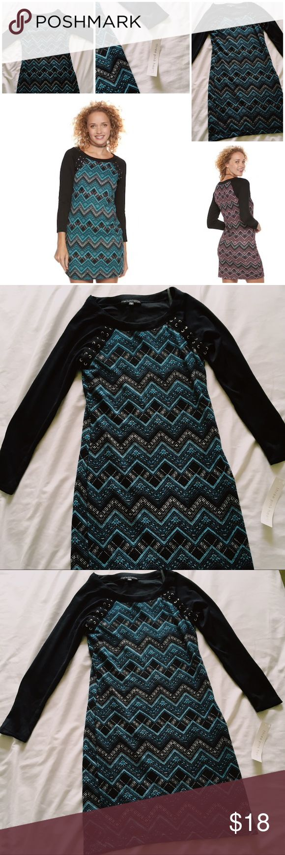 """NWT Three Pink Hearts Black and Blue Chevron Dress Cute mini dress for sale. Found with one of the tags still on it. Chevron with solid black sleeves. Scoopneck with lace up raglan sleeves. Unlined. 31"""" shoulder to hem length.  Tags: Mini dress, grunge, winter, Three pink hearts Dresses Mini"""