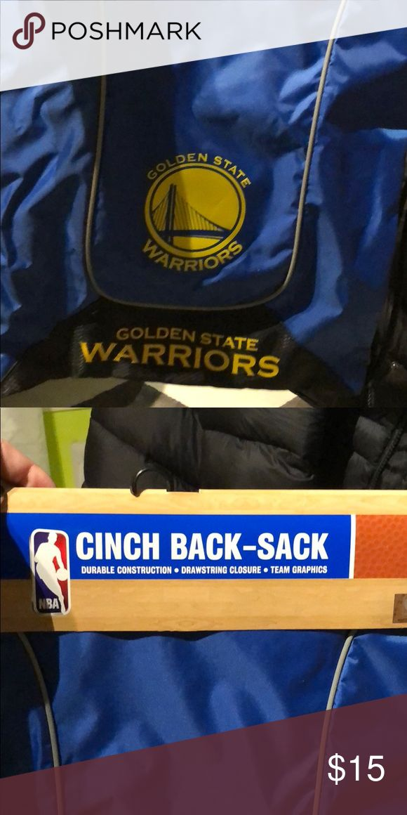 NBA golden state warriors draw strong back pack Blue and yellow draw string back pack NBA store Bags Backpacks