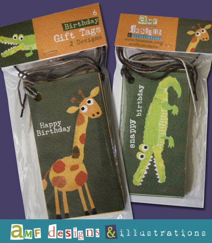 Six gift tags (two different designs - Giraffe and Crocodile)Cute design by local illustrator, AMF Illustrations.Will ship next business day.