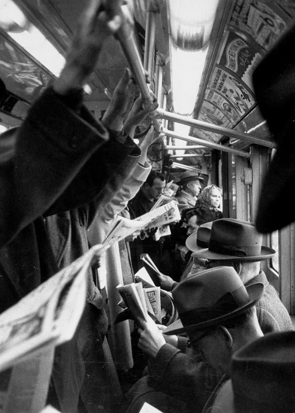 New York Subway, 1952, photo by Cornell Capa   from greeneyes55  (who always has such excellent posts)