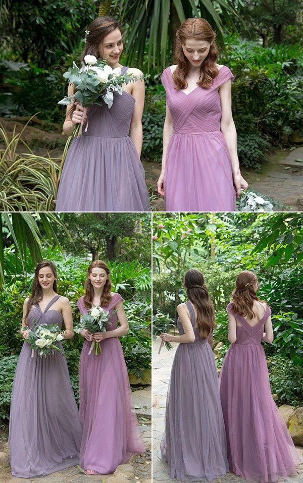 Elegant Long Off Shoulder Tulle Bridesmaid Dress Tbqp420 Purple Lace Bridesmaid Dresses Tulle Bridesmaid Dress Bridesmaid