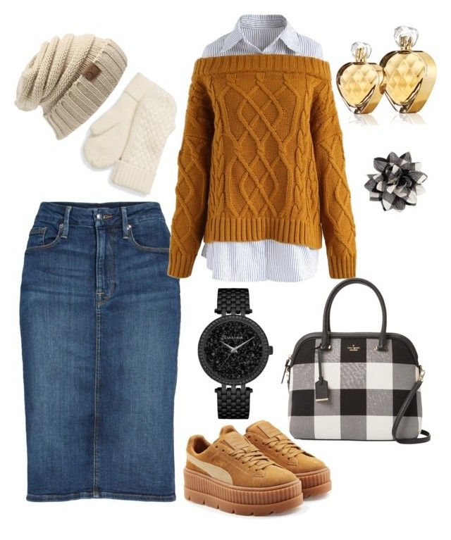 """""""warm comfy"""" by rebeccaodil on Polyvore featuring Good American, Chicwish, Puma, Kate Spade, Caravelle by Bulova, Talbots and Untold"""