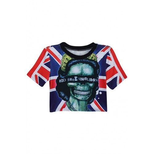 UK Lady Print crop top | street style clothing | ontrendmall.com