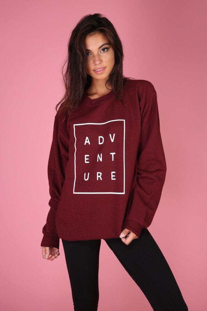 ADVENTURE Maroon Graphic Crewneck Sweatshirt