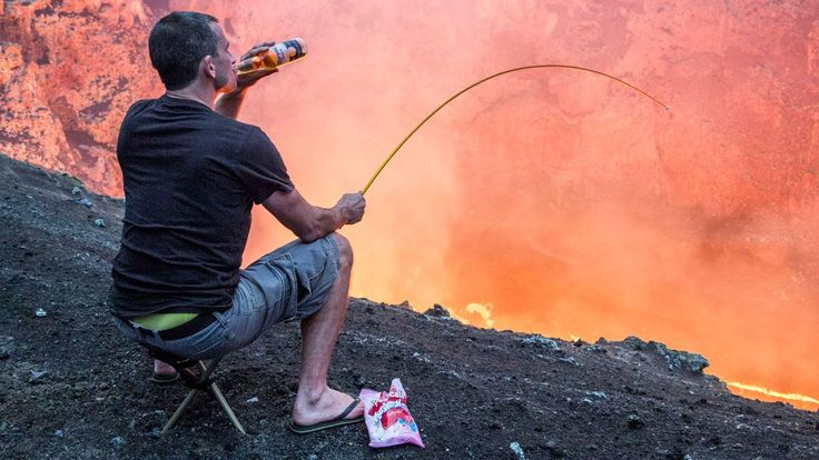 New Zealand Man Casually Drinks a Beer While Roasting Marshmallows Over an Active Volcano