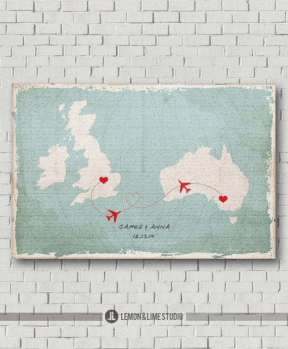 Wedding Guest Book Destination Map Gift Signs Travel Love Custom Guestbook