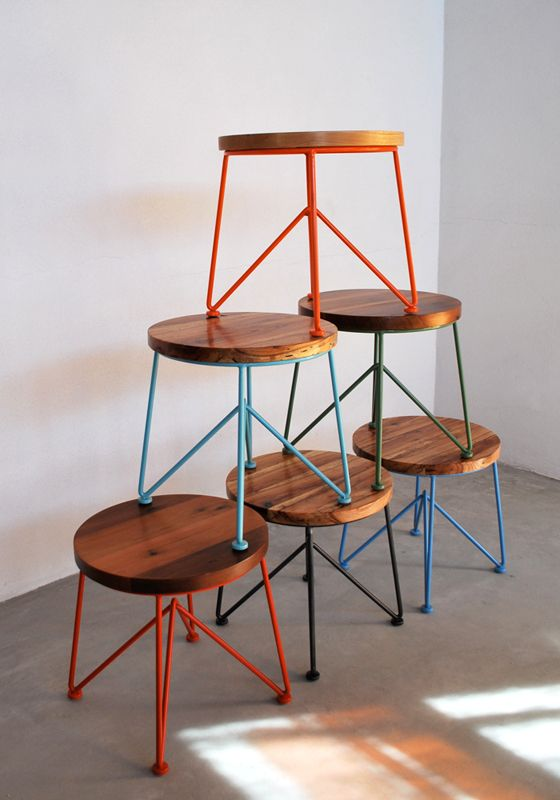 Garza-Marfa Cool stools + colorful hairpin legs
