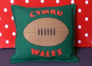 Welsh Rugby Ball Decorative cushion.  welshhatcrafts.bigcartel.com