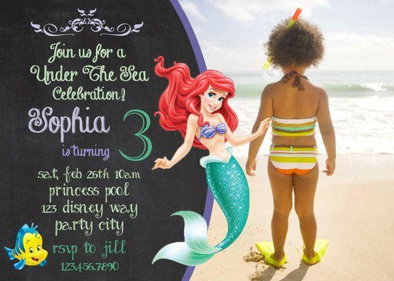 Princess Ariel Disney's the little mermaid invite birthday invitation DIY Disney Princess Girl Chalkboard Card Printable purple swim party