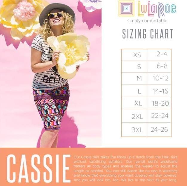 LuLaRoe Cassie Skirt Sizing Chart! https://www.facebook.com/groups/972294496218659/