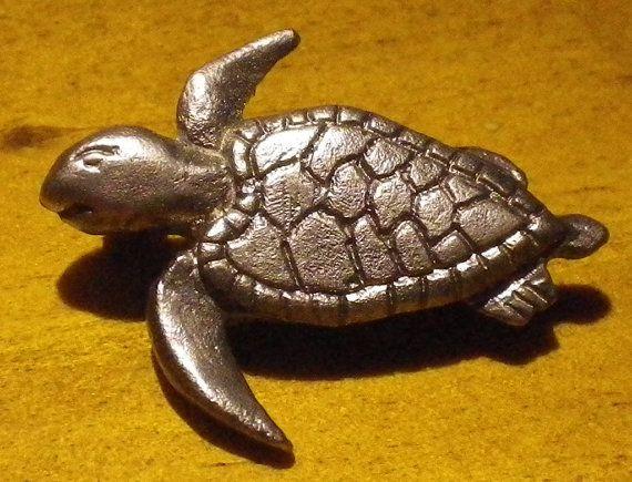 Pewter Turtle Brooch 27mm x 20mm by StevenWorthingtonArt on Etsy, $27.50
