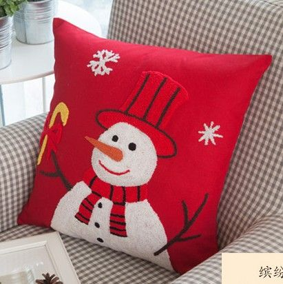 Birthday Gift for girls!2pcs/lot Christmas Topper snowman handmade Woolen embroidery cushion cover 45x45cm/C7069 Free shipping $36.50/lot