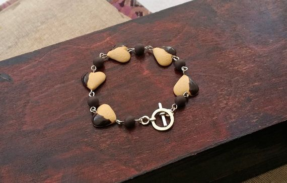 Cookie Heart Dipped In Chocolate Bracelet  by EvasCreationsShop
